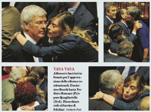 L'Assemblea Prostituente – Marco Travaglio 10/08/2014 No, vabbé, ha fatto anche questo. Oltre a Verdini, alla Rossi, a Quagliariello e a Romani, monna Maria Elena Boschi ha baciato pure Anton…