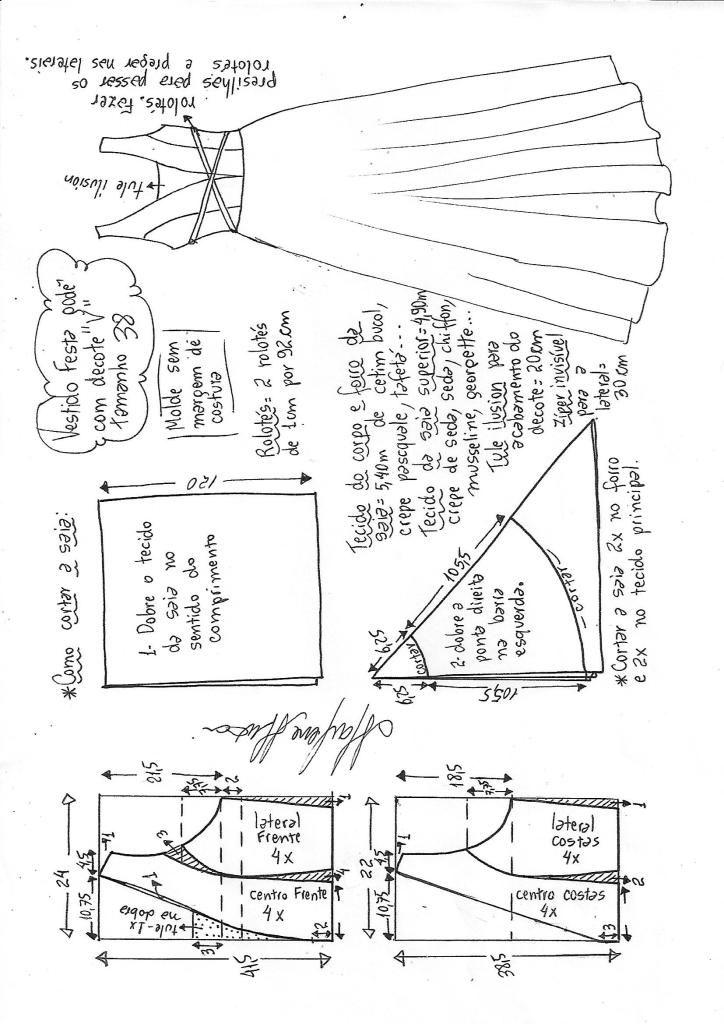 Vestido de festa godê com decote V | Condismod Patrones | Pinterest ...