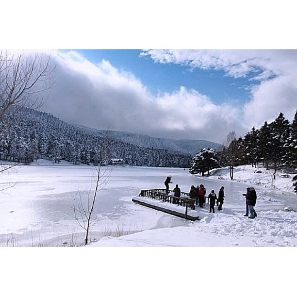 Golcuk Lake under snow, Turkey