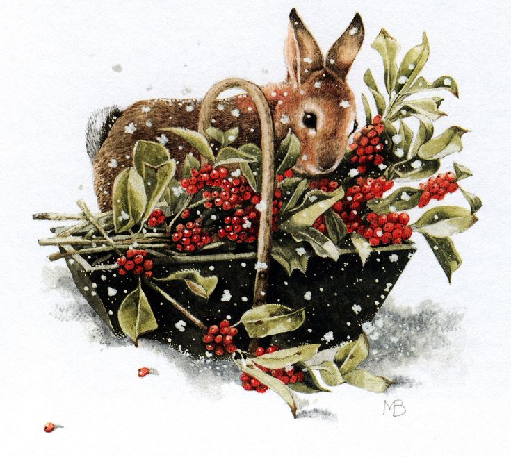 Marjolein Bastin - I want to live in this  charming little world where one finds cuddly critters by beautiful baskets filled with berries & greenery.
