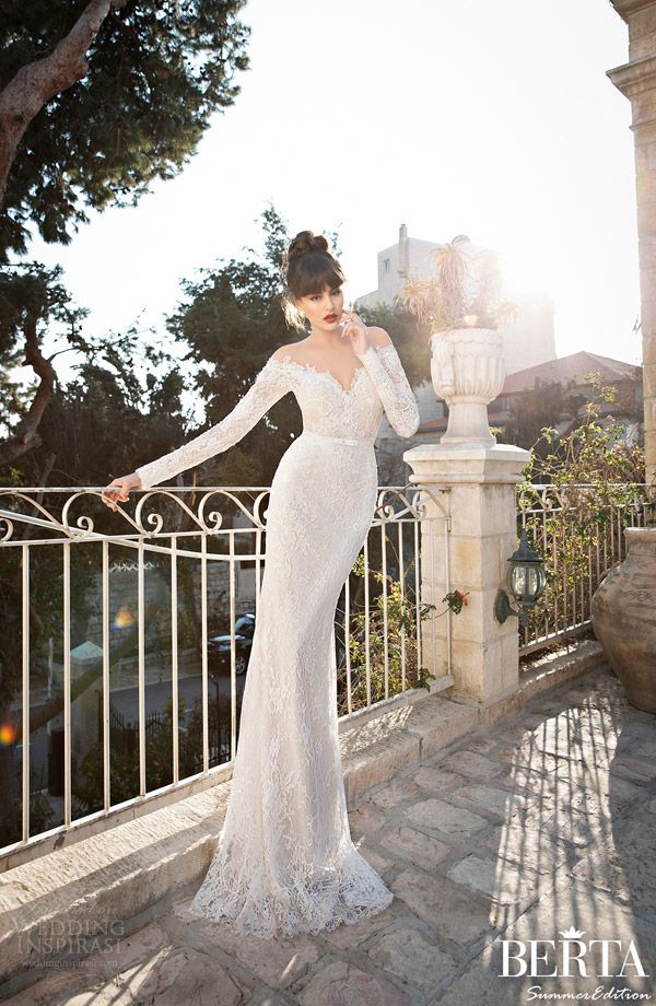 berta bridal 2015 long sleeve wedding dress off shoulder
