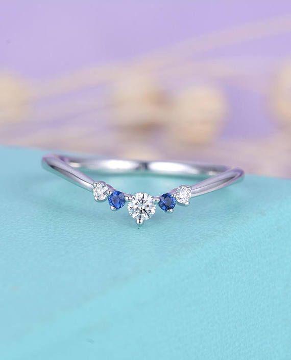 Sapphire Curved Wedding Band Women Dainty Diamond Bridal