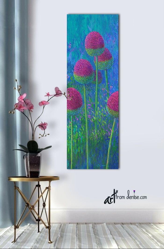 Tall Narrow Vertical Wall Art Canvas Floral Abstract Colorful Fbathroom Picture Purple