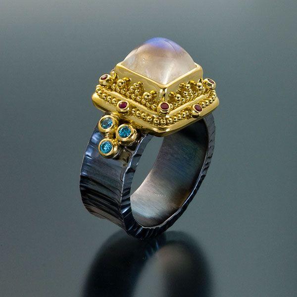 22kt Gold Platinum: Ring 22kt Gold Granulation Oxidized Silver