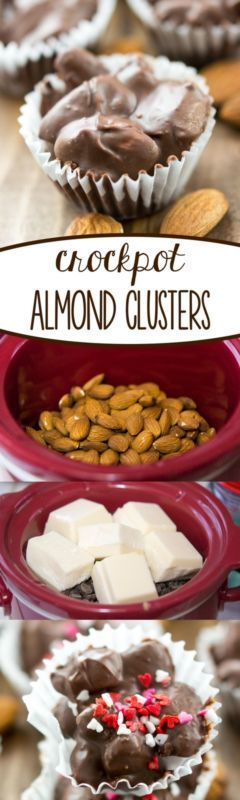 Crockpot Almond Clusters - make candy store candy at home using your slow cooker! This easy recipe makes the BEST almond clusters - perfect for a party or gift!