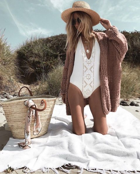 Gorgeous summer beach outfit | Love the cardigan and swimsuit combination