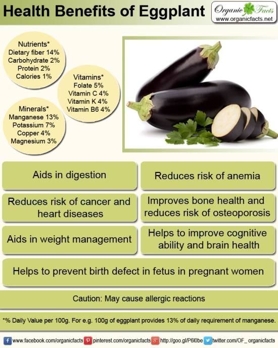 Health benefits of Eggplant including its ability to help Strengthens bones and prevents osteoporosis, reduce symptoms of anemia, increase cognitive function and much more