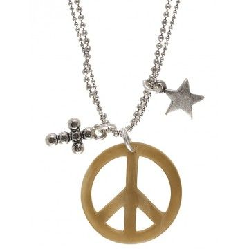 Hultquist-Copenhagen Rock Hippy Necklace  This double chain 80cm silver plated necklace from Hultquist-Copenhagen's Rock Hippy collection features a bone peace symbol pendant, star charm & black diamond Swarovski crystal cross.  Peace Baby....