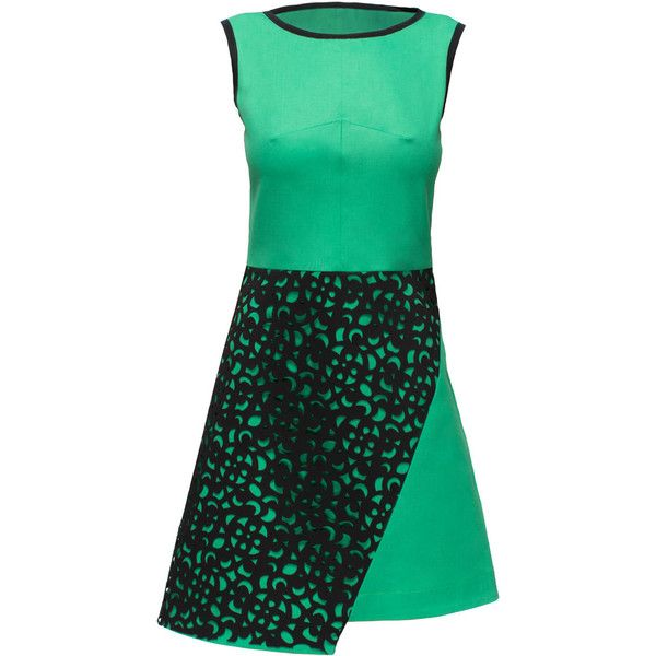 LATTORI Green Dress with Black Perforated Detail ($219) ❤ liked on Polyvore featuring dresses, lattori, short dresses, green cotton dress, green sparkly dress, cotton dress, sparkly dresses and green dress