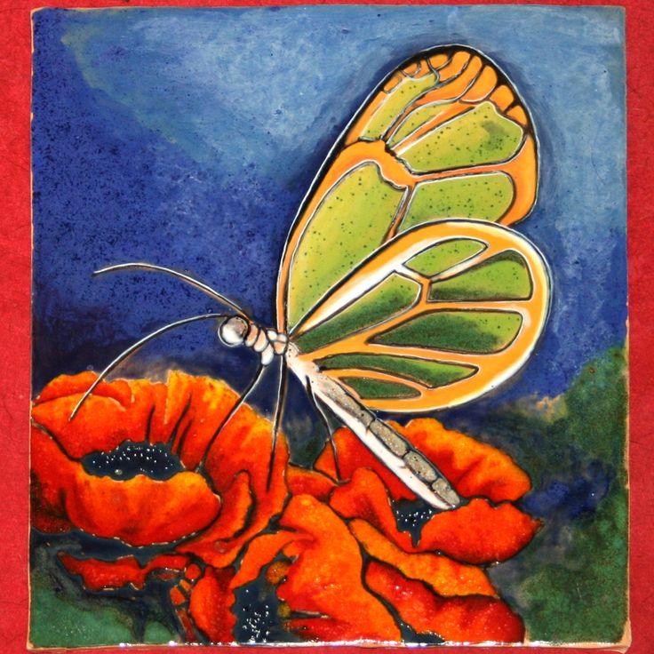 MOTYL /obraz ceramiczny, majolika/ Danuta Rożnowska-Borys