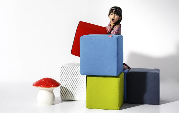Cube Ottomans - Cube ottomans in Amok and Lola fabrics. #nidi #nididesign #design #interiors #chair #furniture #kids