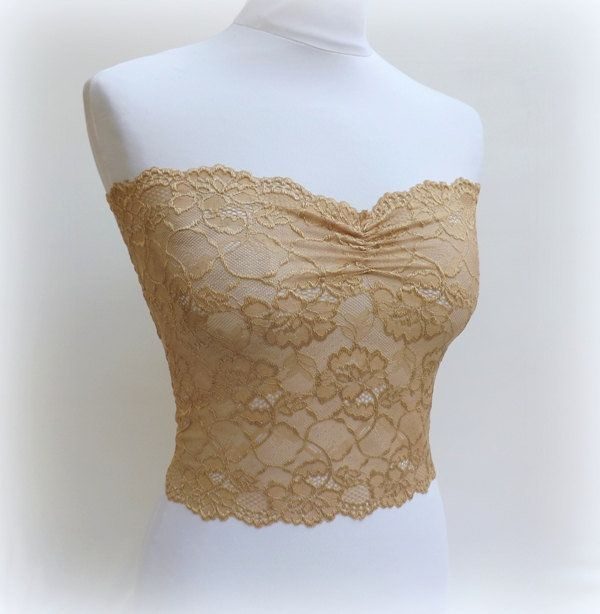 Gold see through elastic lace bandeau tube top bustier
