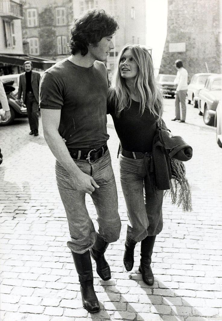 Brigitte Bardot walking with Christian Kalt in Saint-Tropez, France, April 12, 1971