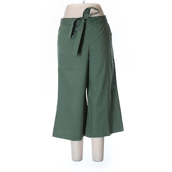 J. Crew Casual Pants ($24) ❤ liked on Polyvore featuring pants, dark green, j crew pants, dark green pants, cotton trousers, cotton pants and green pants