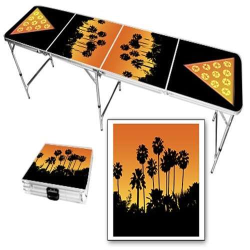 Sunset palms beer pong table.