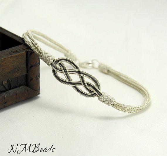 Fine Silver Celtic Love Knot Bracelet Infinity by NMBeadsJewelry