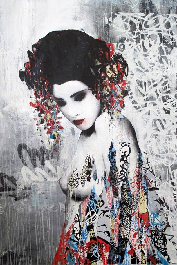 HUSH – ENTRE GEISHA ET STREET ARTGraffiti Artworks, Artists Hush, Street Artists, Art Studios, Japan, Geishas Street, Art Inspiration, Asian Art, Streetart