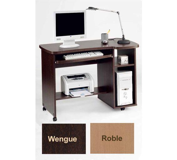 Mesa para ordenador, disponible en roble o wengué.