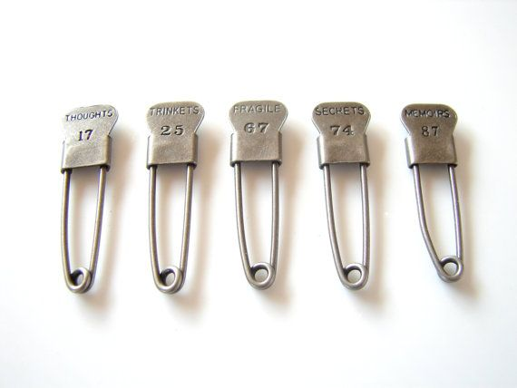 Metal Laundry Pin Style Trinket Pins in Antique by ThirdShift