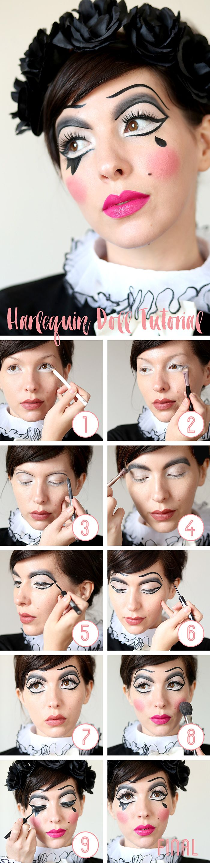 A step by step halloween makeup tutorial on how to create a harlequin doll look.