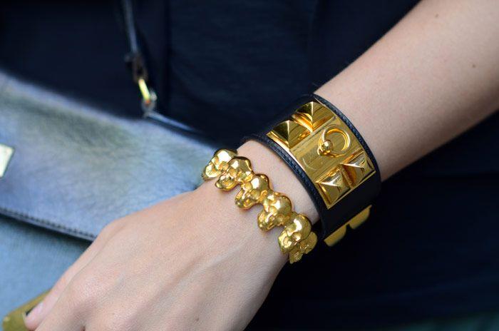 Hermès Collier De Chien Bracelet + Leivankash Skull Cuff