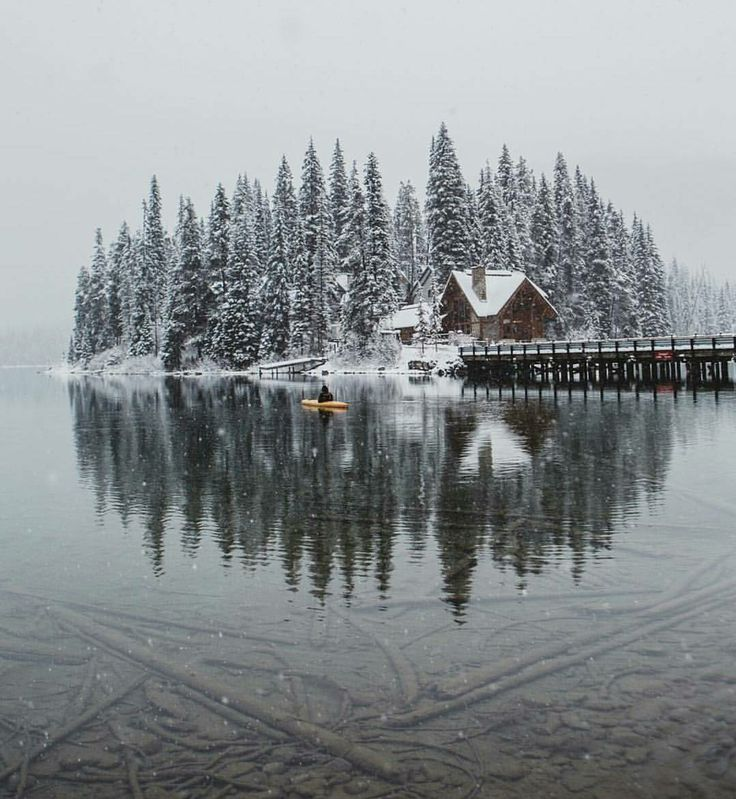 Cabins & Lake Houses | A perfect winter island retreat w/ snow and pine woods included