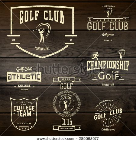 Golf club badges logos and labels for any use. On wooden texture