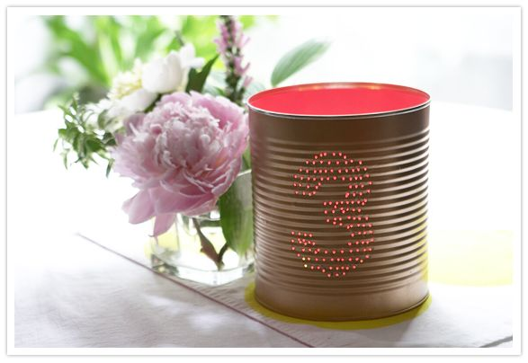DIY tin can table numbers