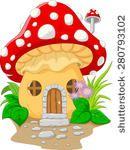 cartoon mushroom house.vector...
