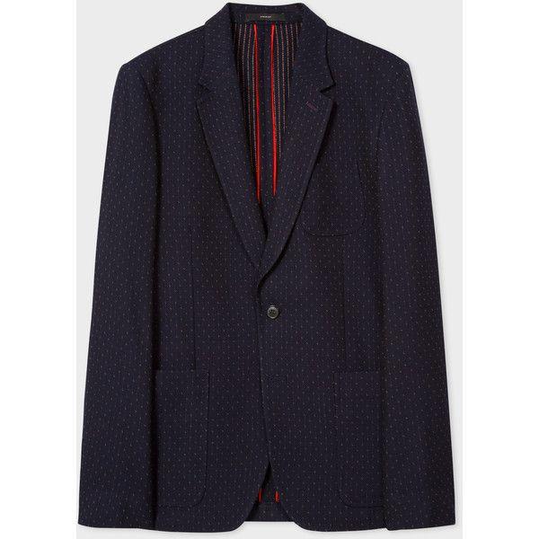 Men's Tailored-Fit Navy 'Raining Dot' Pattern Wool Blazer (2.665 BRL) ❤ liked on Polyvore featuring men's fashion, men's clothing, men's sportcoats, navy, mens polka dot blazer, mens wool blazer, mens clothing, men's sportcoats and blazers and mens blazers