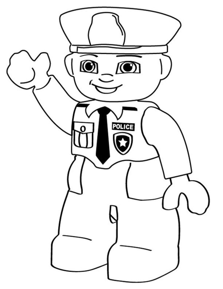 cartoon coloring pages lego police person