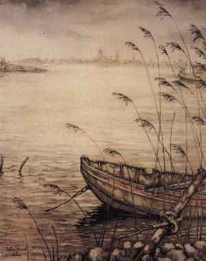 ...the means to arrive at the far shore... always waiting...(artist: Anton Pieck)