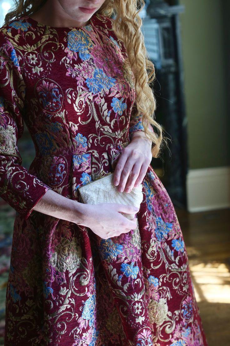 Modest burgundy brocade Miss Scarlett's Tea Room Dress. Modest apparel and bridesmaid dresses. www.daintyjewells.com