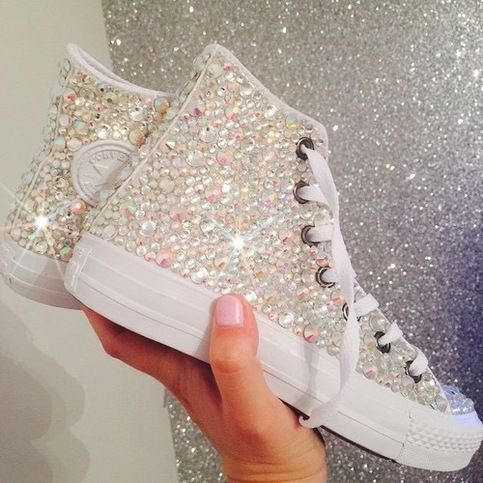 Rhinestone Gem Bling Monochrome Converse  Our items are customized & made to order  PLEASE CHOOSE YOUR SHOES SIZE. ____________________________________ *  F . A . Q . S  How are your items made? We customize original sneakers into your custom color What is your processing time?  1-2 weeks
