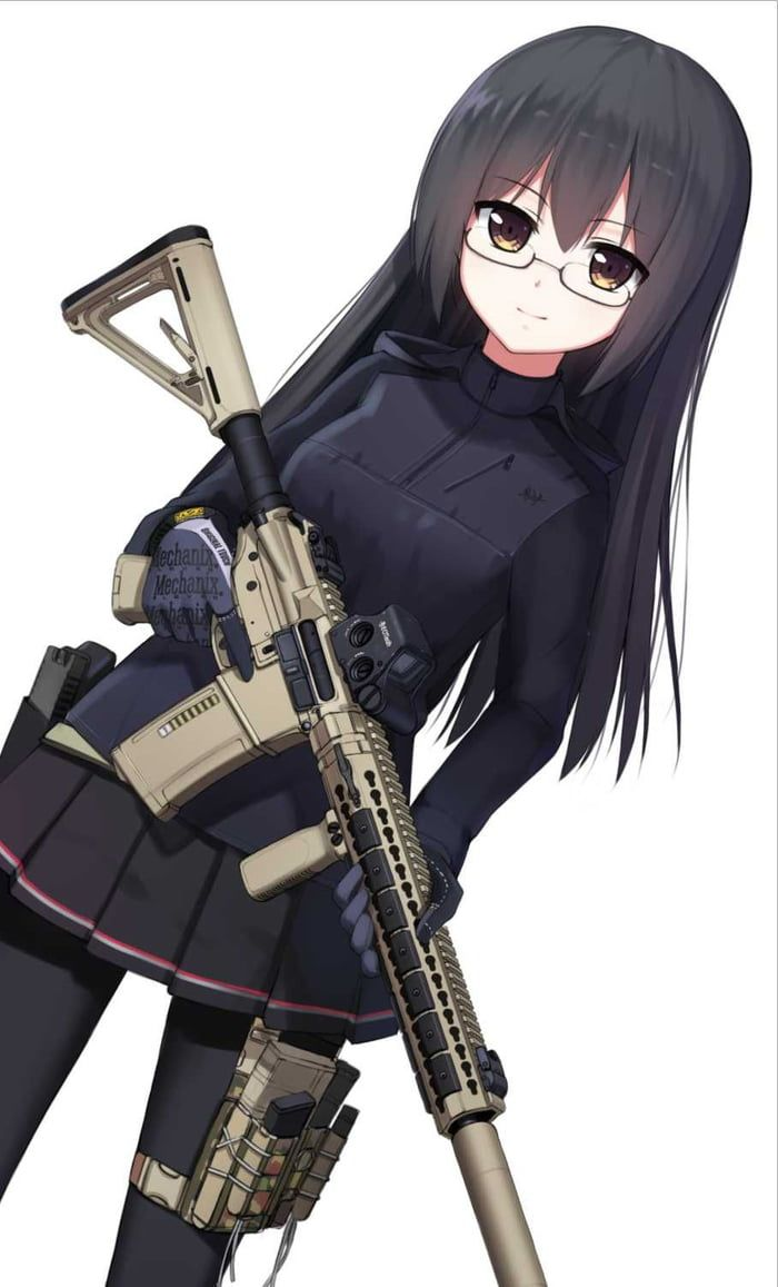 Anime girls with guns part 258 in 2019 Cute anime girls