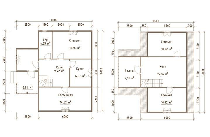 Готовый проект каркасно-щитового дома 9X8,5 от Строительной компании «ДОМ МЕЧТЫ»