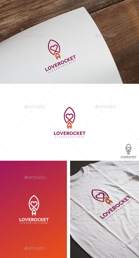 Love Rocket Logo Template Vector EPS, AI. Download here: http://graphicriver.net/item/love-rocket-logo/15485106?ref=ksioks