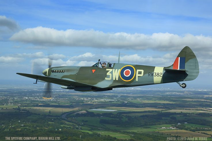 RW382 ordered in 1944 and built in 1945 as a low-back Supermarine Spitfire L.F.XVIe powered by a Packard Merlin 266, and delivered from Castle Bromwich to No.6 MU at Brize Norton on 20th July.The aircraft flies in the colours of 322 (Dutch) Squadron - the only Dutch Squadron to be based at Biggin Hill.