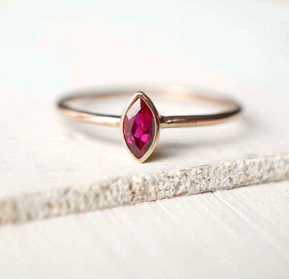 Ruby Ring Rose Gold Ring Engagement Ring Wedding Band by Luxuring