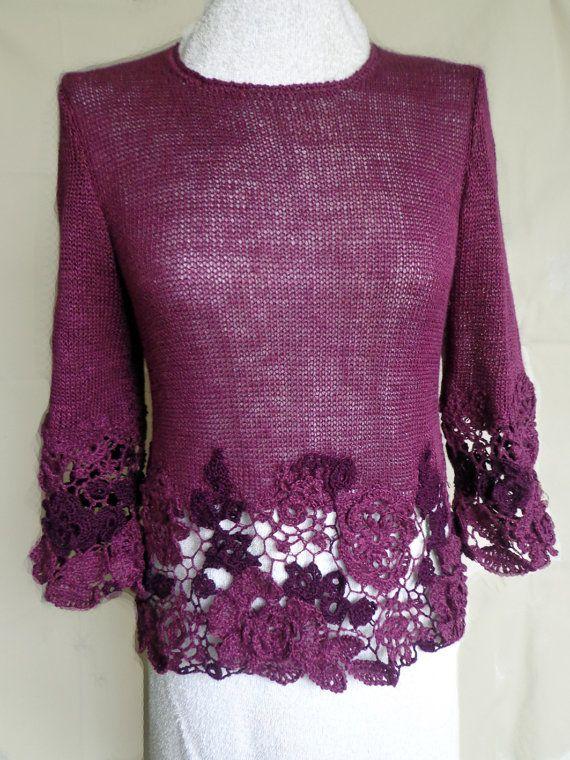 Freeform crocheted women's jumper knitted summer by ingabojatjuka