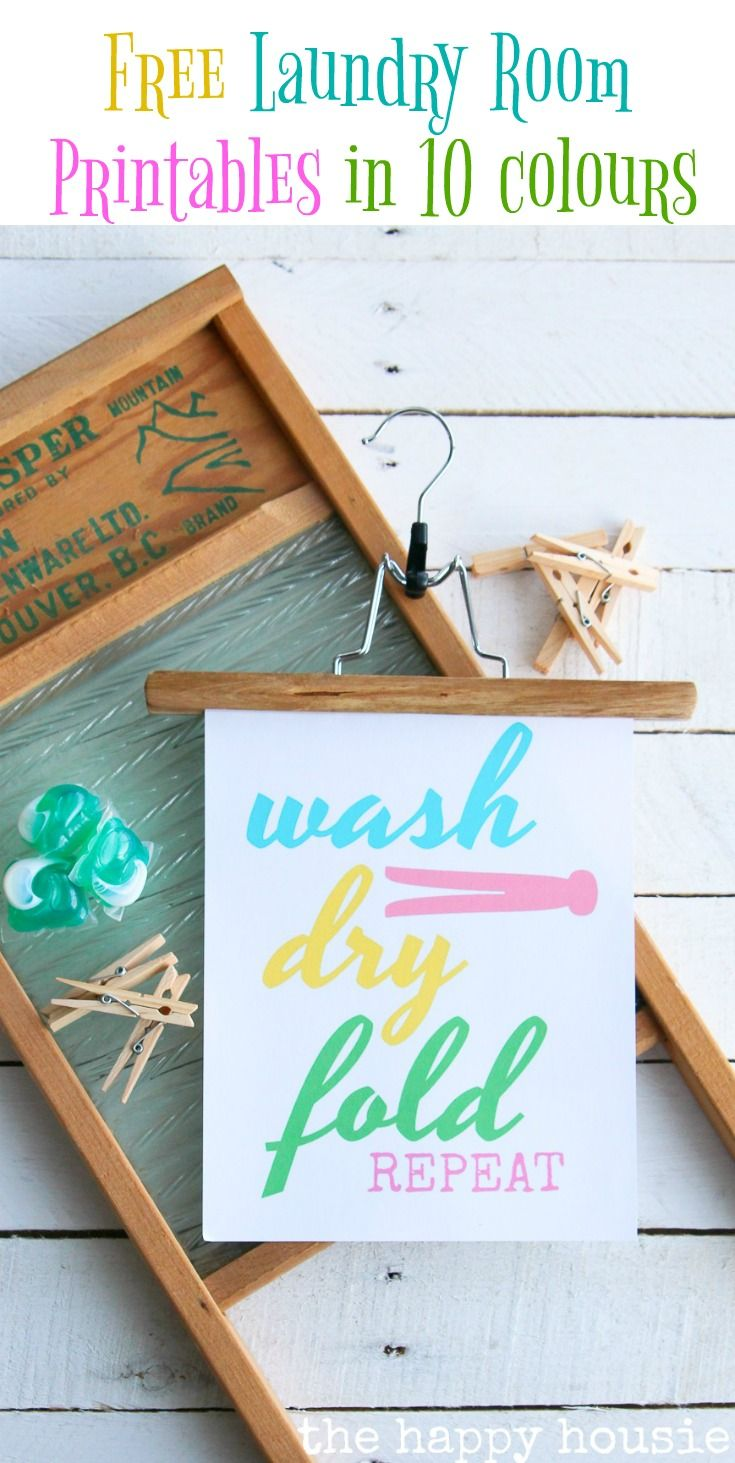 Free Laundry Room Printable Art in 10 Colours! - The Happy Housie