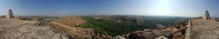 360 view from roof of mountaintop temple. Cave shrine that winds underneath in comments. Hampi India