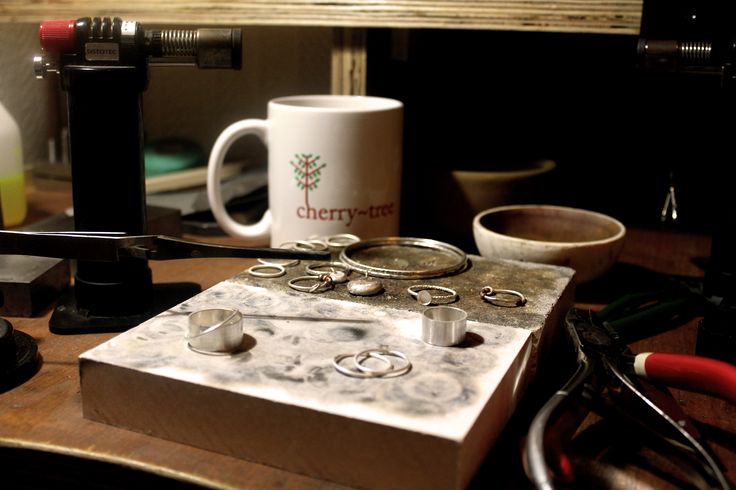 Studio View - A brand new solder block doesn't stay fresh for long! #handmadejewelry #jewellersbench #sterlingsilver #sterlingsilverjewelry #solderedjewelry #craft #handmade # silversmith #silversmithing #workbench #etsy #etsyuk #cherrytreeliverpool