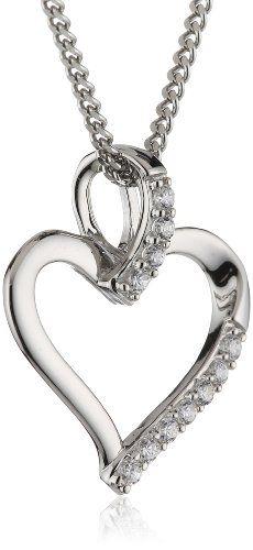Bild Xaana Damen-Anhänger Herz mit Zirkonia…