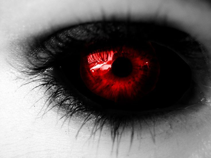 Black Sclera Red Iris Contacts Eye number 2. Black sc...