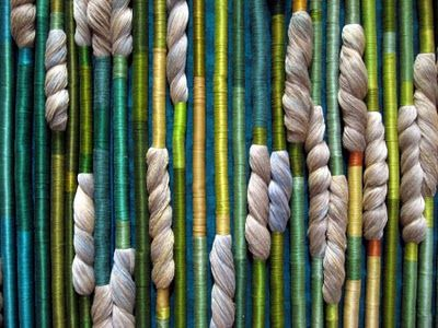 """Silk Rainforest by Sheila Hicks. One of our great fiber artists, favorite of Elizabeth VanBuskirk, fiber artist and author of the new book """"Beyond the Stones of Machu Picchu: Folk Tales and Stories of Inca Life."""" Most involve the importance of weaving in the lives of Peruvian Andean people still today."""