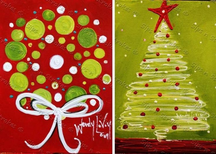 Cute Christmas tree canvas paint idea for wall decor. Canvas painting. Wall art. Merry Christmas. Winter. Red, green, and white. Christmas wreath.