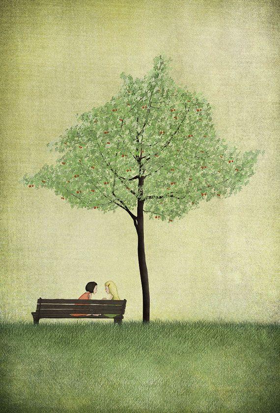 "Under the cherry tree - Summer - (Illustration print size 5"" x 7"")"