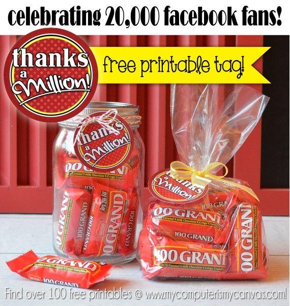 Thanks a Million FREE PRINTABLE tag - just print, trim and put ten 100 GRAND mini candy bars in a cello bag or mason jar... SO CUTE!! #mycomputerismycanvas