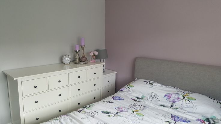 Calm master bedroom. Next Bedding. Hemnes drawers. Dulux dusted fondant and polished pebble